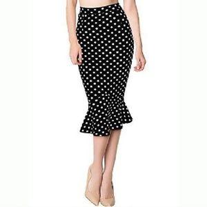 Polka-dot Tulip Hem Midi Skirt